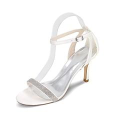 Feminino Sapatos De Casamento Chanel Rasteirinhas Primavera Verão Cetim Casamento Festas & Noite Pedrarias Salto Agulha Roxo Vermelho