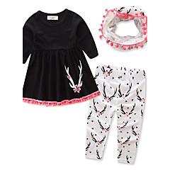 billige Tøjsæt til piger-Baby Pige Blomster / Pænt tøj Dyr Trykt mønster Langærmet Lang Lang Bomuld Tøjsæt