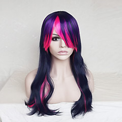 cheap Wigs & Hair Pieces-Synthetic Wig Wavy Asymmetrical Haircut / With Bangs Synthetic Hair Natural Hairline Blue Wig Women's Long Capless