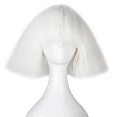 billige Kostymeparykk-miss u hair Syntetiske parykker / Kostymeparykker Kinky Glatt / Yaki Bobfrisyre / Med lugg Syntetisk hår Hvit Parykk Dame Kort Lokkløs Hvit