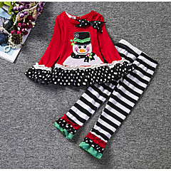 baratos Roupas de Meninas-Para Meninas Conjunto Riscas Todas as Estações Algodão Manga Longa Natal Vermelho