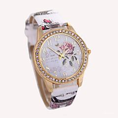 Dames Modieus horloge Polshorloge Kwarts Leer Band Wit Rood Bruin Grijs