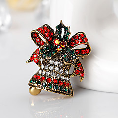 女性用 ブローチ ラインストーン 合金 おもちゃ形 ジュエリー 用途 クリスマス