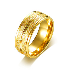 cheap Men's Rings-Men's Band Ring Engagement Ring - Stainless Steel, Gold Plated Simple, Basic Jewelry Gold / Silver For Wedding Party 7 / 8 / 9 / 10 / 11