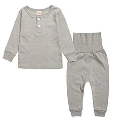 billige Undertøj og sokker til piger-Pige Ensfarvet Langærmet Bomuld Nattøj Beige