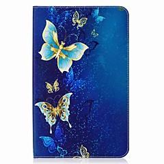 お買い得  タブレット用ケース-ケース 用途 Samsung Galaxy フルボディーケース タブレットケース バタフライ ハード PUレザー のために Tab E 9.6