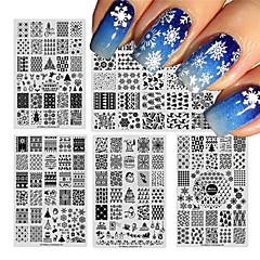billige Neglestempling-1 pcs Stampplate Mal Stilig Design Neglekunst Manikyr pedikyr Stilfull / Mote Daglig / stempling Plate