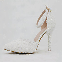 Women's Shoes PU Spring Fall Comfort Novelty Wedding Shoes Stiletto Heel Pointed Toe Applique Pearl Buckle For Wedding Party & Evening