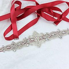 Satin/ Tulle Wedding Party/ Evening Sash With Rhinestone Imitation Pearl