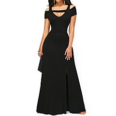 Damen Lose Kleid-Party Sexy Solide V-Ausschnitt Maxi Kurzarm Polyester Elasthan Herbst Hohe Hüfthöhe Dehnbar Mittel