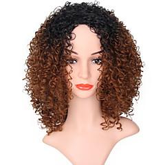 billiga Peruker och hårförlängning-Syntetiska peruker Dam Jerry Lockigt Brun Syntetiskt hår Ombre-hår Brun Peruk Lång Utan lock Svart / Medium Rödbrun