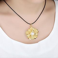 baratos -Mulheres Redonda Flor Floral Luxo Colares com Pendentes Colares Declaração Imitação de Pérola Chapeado Dourado Colares com Pendentes