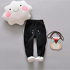 billige Bukser og leggings til piger-Baby Pige Stribe Polyester Bukser Sort 100
