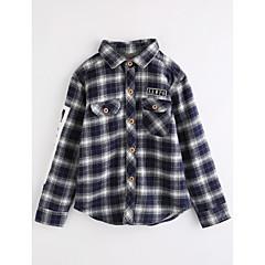 billige Overdele til drenge-Børn Drenge Ternet Langærmet Bomuld Bluse