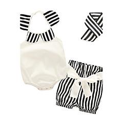 billige Sett med babyklær-Baby Pige Blomster / Stribet Afslappet / Hverdag Stribet / Trykt mønster Uden ærmer 100 % bomuld Tøjsæt Hvid