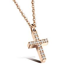Dames Hangertjes ketting Kubieke Zirkonia Kruisvorm Sieraden Roestvast staal Roos verguld Sieraden Voor Bruiloft Dagelijks