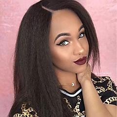 billiga Peruker och hårförlängning-Äkta hår Spetsfront Peruk Brasilianskt hår Rak Yaki Peruk 130% Hårtäthet med babyhår obearbetade limfria Dam Lång Äkta peruker med hätta