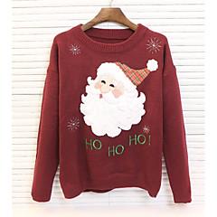 Dames Dagelijks Normaal Pullover Print-Ronde hals Lange mouw Katoen Winter Dik Micro-elastisch