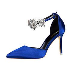 cheap Women's Heels-Women's Silk Spring / Summer Comfort / Novelty Heels Pointed Toe Crystal / Buckle Green / Blue / Pink / Wedding / Party & Evening / 3-4 / Party & Evening