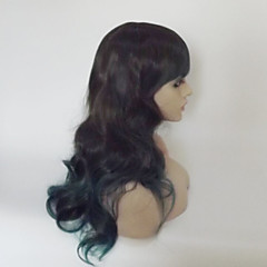 cheap Wigs & Hair Pieces-Synthetic Wig Women's Curly / Natural Wave Black Asymmetrical / With Bangs Synthetic Hair Highlighted / Balayage Hair / Natural Hairline Black Wig Medium Length / Long Capless Black / Green