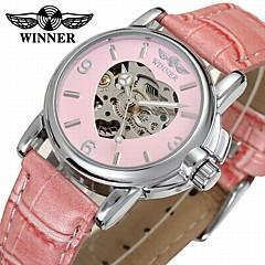 e3ab07c01ce88 WINNER Mulheres Relógio Elegante Relógio Esqueleto Relógio de Pulso  Automático - da corda automáticamente Couro Preta   Azul   Rosa 30 m  Gravação Oca ...