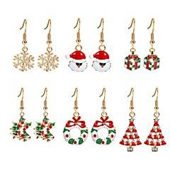 Damen Tropfen-Ohrringe Zirkon vergoldet Aleación Weihnachtsbaum Schmuck Für Weihnachten Neujahr