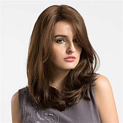 cheap Wigs & Hair Pieces-Synthetic Wig Women's Natural Wave Brown Synthetic Hair Brown Wig Medium Length Capless Light Brown MAYSU