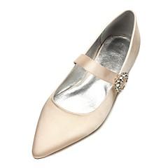 halpa -Naiset Kengät Satiini Kevät Kesä Comfort Ballerina häät Kengät Pointed Toe Tekojalokivi Ruseteilla Käyttötarkoitus Häät Puku Juhlat