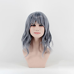 cheap Wigs & Hair Pieces-Synthetic Wig Women's Natural Wave Gray Synthetic Hair Middle Part Gray Wig Medium Length Capless Black / Smoke Blue