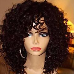 billiga Peruker och hårförlängning-Äkta hår Spetsfront Peruk Brasilianskt hår Jerry Lockigt Frisyr i lager Bob-frisyr Med lugg 130% Densitet Med Babyhår obearbetade