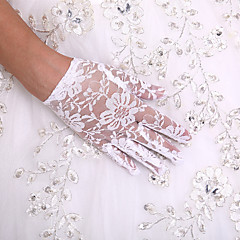 cheap Party Gloves-Lace Wrist Length Glove Flower Girl Gloves With Rhinestone Pearl