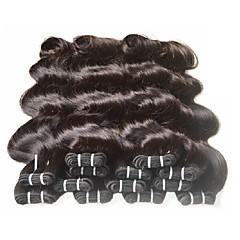 ieftine Un pachet de păr-Păr Brazilian Ondulat / Stil Ondulat / Clasic Umane tesaturi de par 8 pachete 8-24 inch Umane Țesăturile de par pentru Femei de Culoare Negru Umane extensii de par