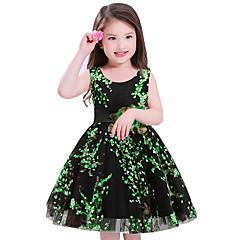 Feestdagen Bloemen Polyester Mouwloos voor meisjes Jurk Schattig Prinses Klaver Rood