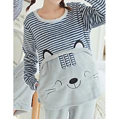 billige Moteundertøy-Dame Bomull Dress Pyjamas - Multi-farge Broderi Dyr
