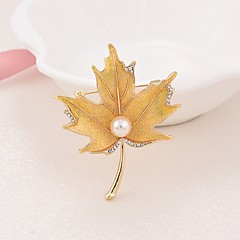 Women's Brooches Imitation Pearl Simple Elegant Imitation Pearl Alloy Leaf Jewelry For Office & Career Going out