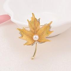Dámské Brože Imitace perly Jednoduchý Elegantní Napodobenina perel Slitina Leaf Shape Šperky Pro Jdeme ven