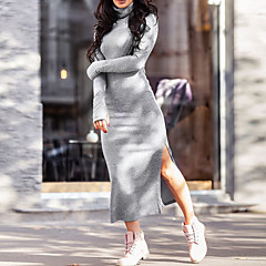 Damen Hülle Kleid-Lässig/Alltäglich Einfach Street Schick Solide Rollkragen Maxi Langärmelige Baumwolle Frühling Herbst Mittlere Hüfthöhe
