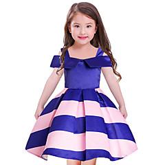 baratos Roupas de Meninas-Menina de Vestido Para Noite Feriado Listrado Poliéster Manga Curta Fofo Princesa Rosa