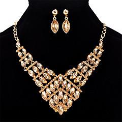 baratos Conjuntos de Bijuteria-Mulheres Cristal Geométrica Conjunto de jóias - Cristal Fashion Incluir Arco-íris / Vermelho / Azul Para Formal / Bandagem