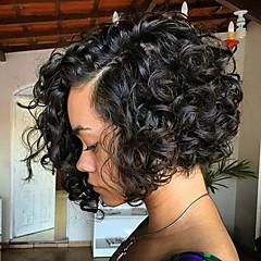 economico Parrucche di capelli umani con retina-Cappelli veri Lace frontale Parrucca Brasiliano Riccio Parrucca Taglio medio corto 130% Con i capelli del bambino Per donna Medio Parrucche di capelli umani con retina