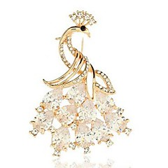 cheap Brooches-Women's Peacock Crystal Crystal Brooches - Animals / Classic / Fashion Peacock Gold Brooch For Daily / Formal