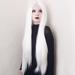 cheap Wigs & Hair Pieces-Synthetic Lace Front Wig Women's Straight White Synthetic Hair Middle Part White Wig Long Lace Front White
