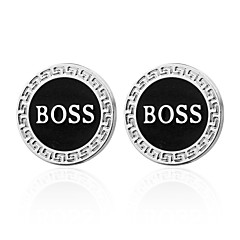 "cheap Men's Cufflinks-1 ¼"" Circle Gray Cufflinks Brass Office/career Party Men's Costume Jewelry"
