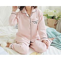 billige Moteundertøy-Dame Bomull Store størrelser V-hals Dress Pyjamas - Helfarge, Trykt mønster