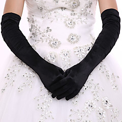 Elastic Satin Spandex Fabric Opera Length Glove Bridal Gloves Party/ Evening Gloves With Pleated