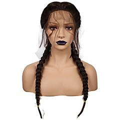 billiga Peruker och hårförlängning-Syntetiska snörning framifrån Yaki Syntetiskt hår Flätad peruk Svart Peruk Dam Korta / Mellan Spetsfront Svart