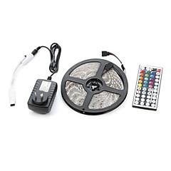 5m Valosetit 300 LEDit 5050 SMD RGB Kauko-ohjain / Leikattava / Himmennettävissä 100-240 V / IP65 / Vedenkestävä / Yhdistettävä / Ajoneuvoihin sopiva / Itsekiinnittyvä