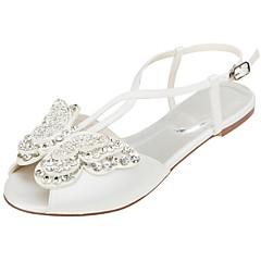 olcso -Női Cipő Streccs szatén Nyár Kényelmes Esküvői cipők Lapos Lábujj nélküli Rátét Flitter mert Party és Estélyi Ruha Kristály
