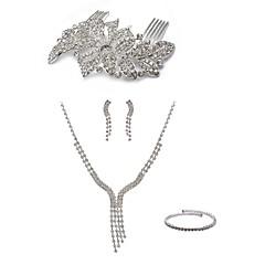 cheap Jewelry Sets-Women's Rhinestone Imitation Diamond Jewelry Set Body Jewelry 1 Necklace Earrings - Fashion European Line White Hair Combs Bridal Jewelry