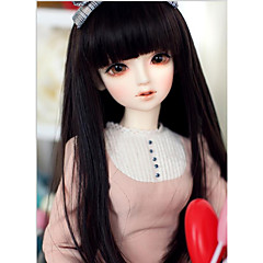 cheap Wigs & Hair Pieces-Synthetic Wig kinky Straight Black With Bangs Synthetic Hair Natural Hairline Black Wig Long Capless Natural Black / Doll Wig